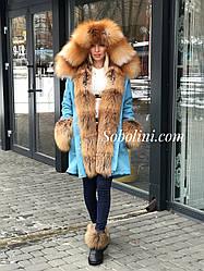 Парка с мехом лисы Gold Fox и отстежкой на жилет