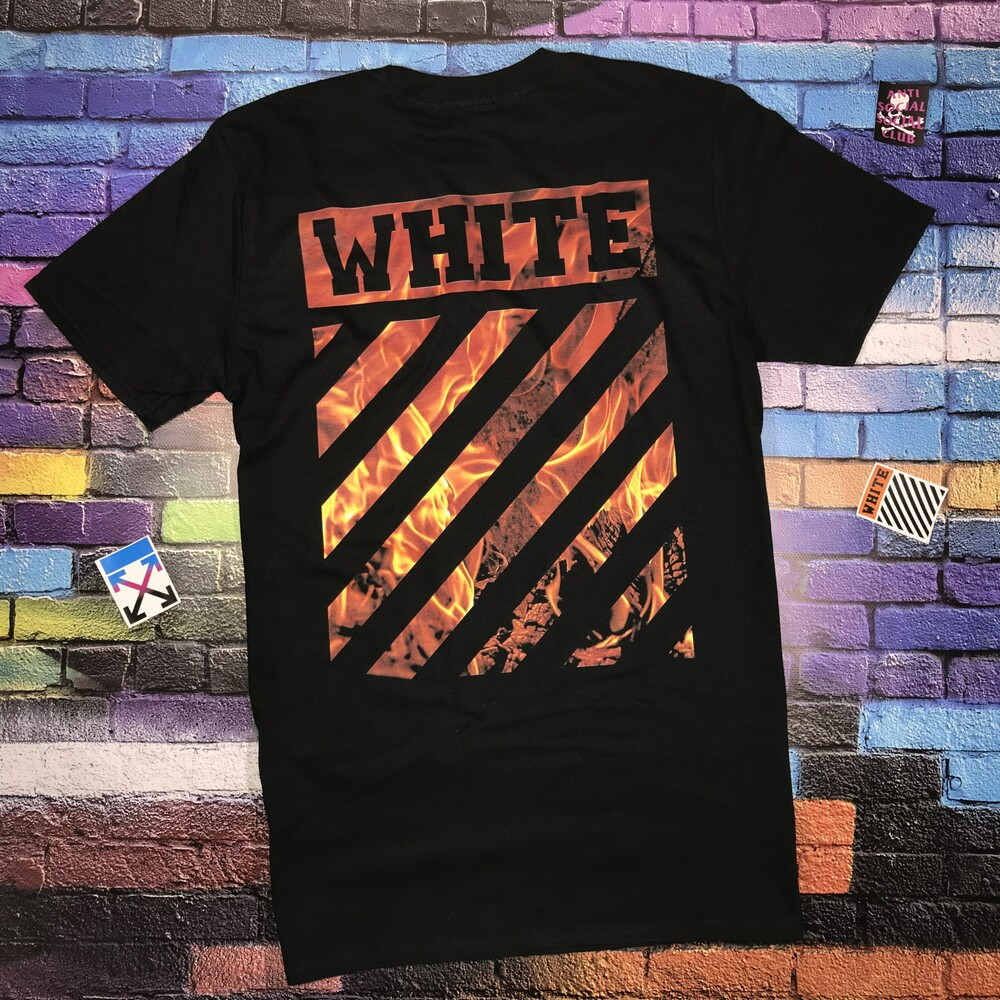 Мега Футболка OFF WHITE Black Fire • 2019 NEW