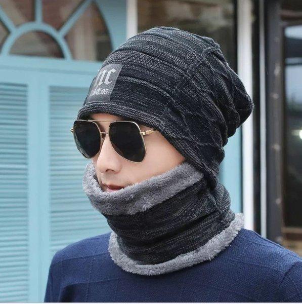 Шапка + шарф NC чорний, синій код 91