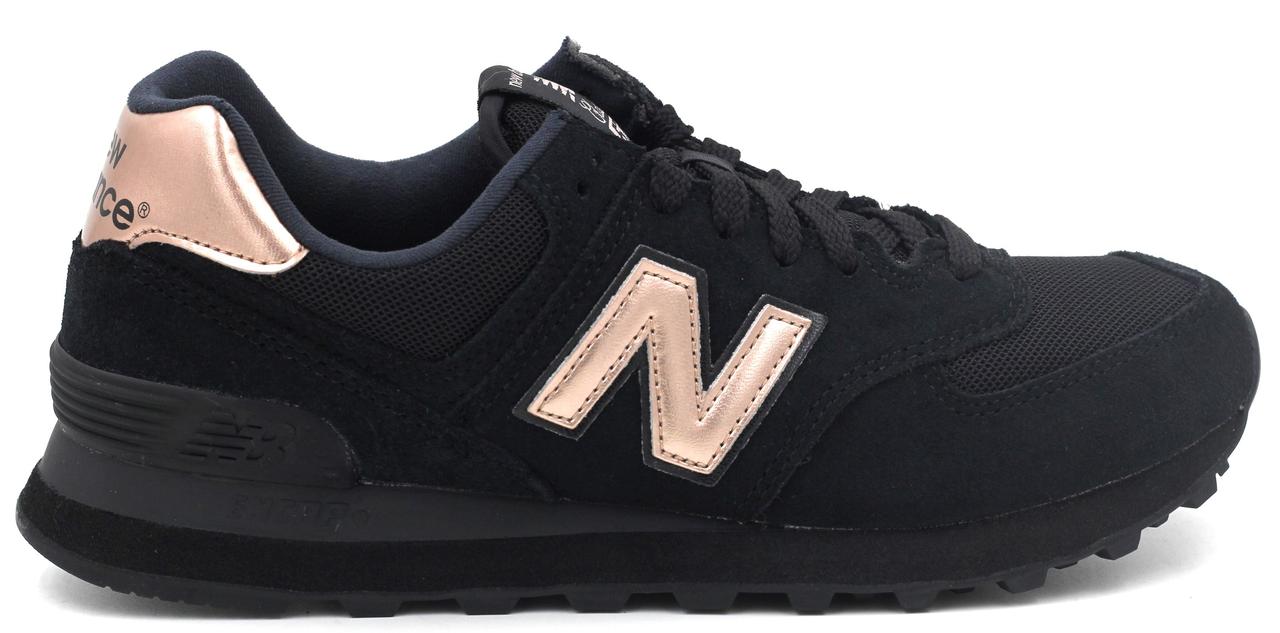 Женские кроссовки New Balance 574 Molten Metallic (в стиле Нью Баланс 574) черные  с 402cc28ee0b65