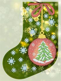 """Схема для вышивки бисером новогодний сапожок """"Новогодний шарик"""""""
