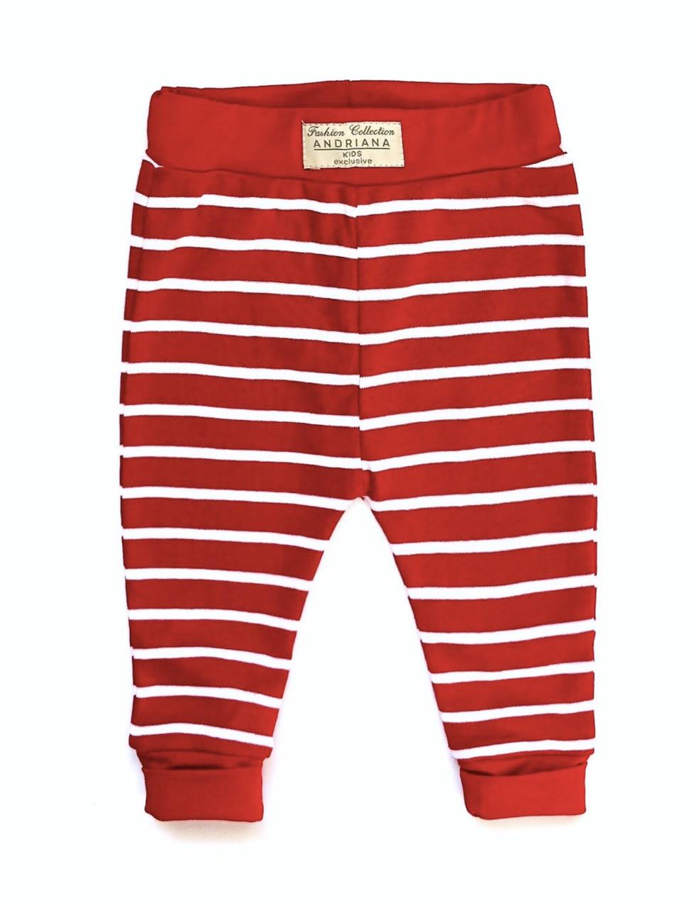 Детские штанишки от 0 до 4 лет Andriana Kids красные в белую полоску