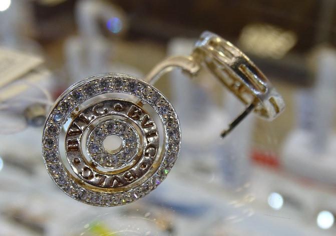 Серебряные серьги с золотыми вставками Bvlgary ( Булгари)