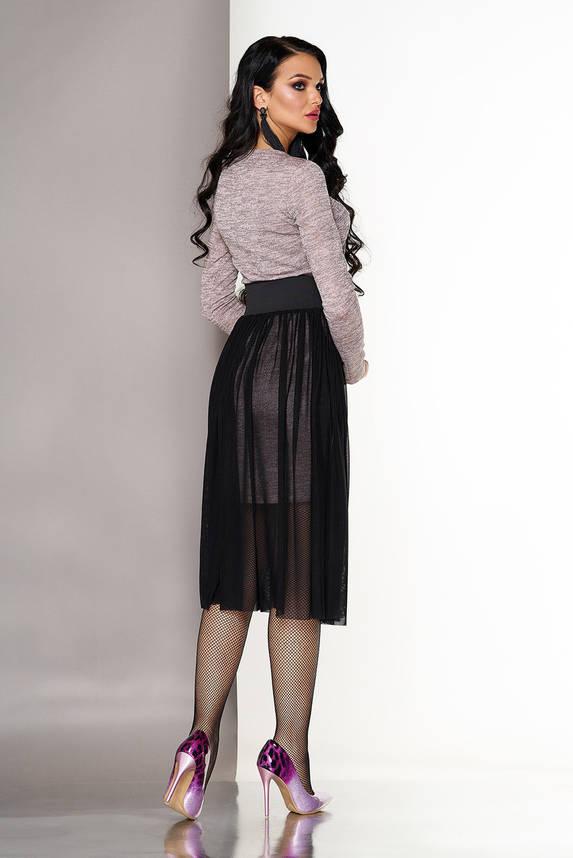Платье двойка трикотажное с пышной юбкой персиковое, фото 2