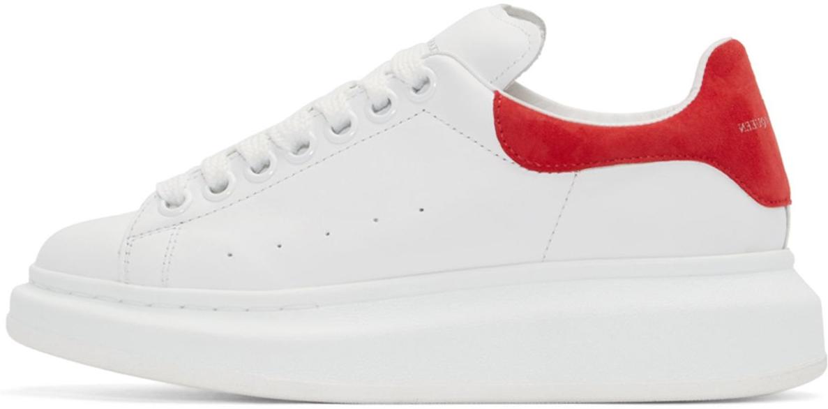 Женские кроссовки Alexander McQueen Leather White Red в стиле Александр  Маккуин белые c красным - 0a4325365e579
