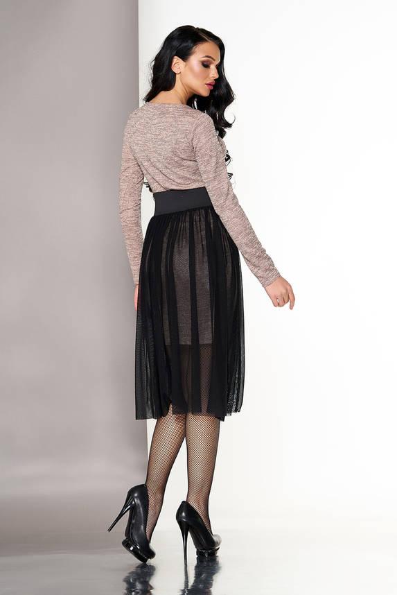 Платье двойка бежевое с пышной юбкой, фото 2