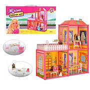 Большой двухэтажный домик для кукол с мебелью / Игровой дом для кукол 6984,  раз.домика 63-51,5-70 см