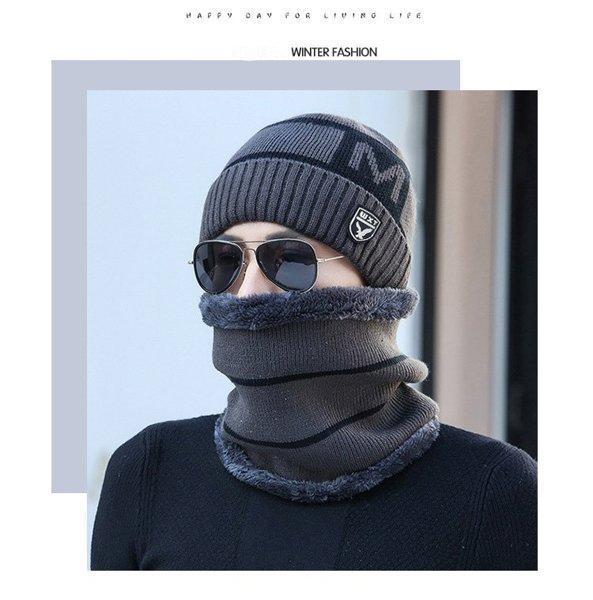 Зимняя вязаная мужская шапка WXT серая код 93