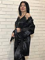 Черный домашний комплект тройка с кружевом Халат+майка+штаны.