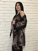 Халат+майка+штаны комплект тройка для дома, одежда для сна и отдыха.