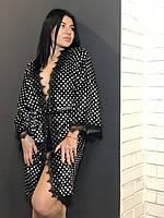 Велюровый халат в горошек с кружевом, женские халаты .