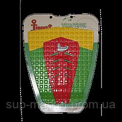 Коврик для вейксёрфа, сёрфа и скимборда задний Linkorskimboards Tail Pad, green/yellow/red