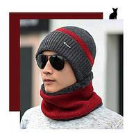 Шапка мужская зимняя без шарфа серо-красная  серо-красная код 94