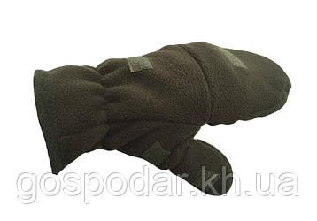 Перчатки-варежки  флисовые, цвет оливковый.