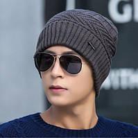 Зимняя вязаная мужская шапка JEANS серая код 92