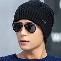 Зимняя вязаная мужская шапка JEANS черная код 92, фото 1