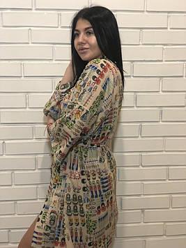 Молодежный легкий халатик под пояс, женская одежда для дома ТМ Exclusive.