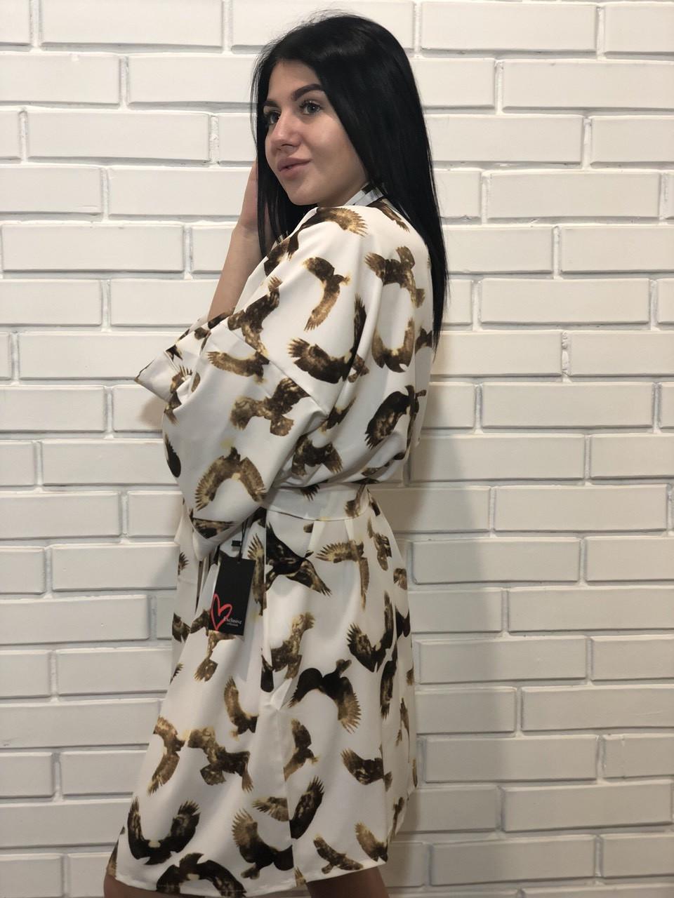 Молодежный тонкий халатик под пояс, женская домашняя одежда ТМ Exclusive