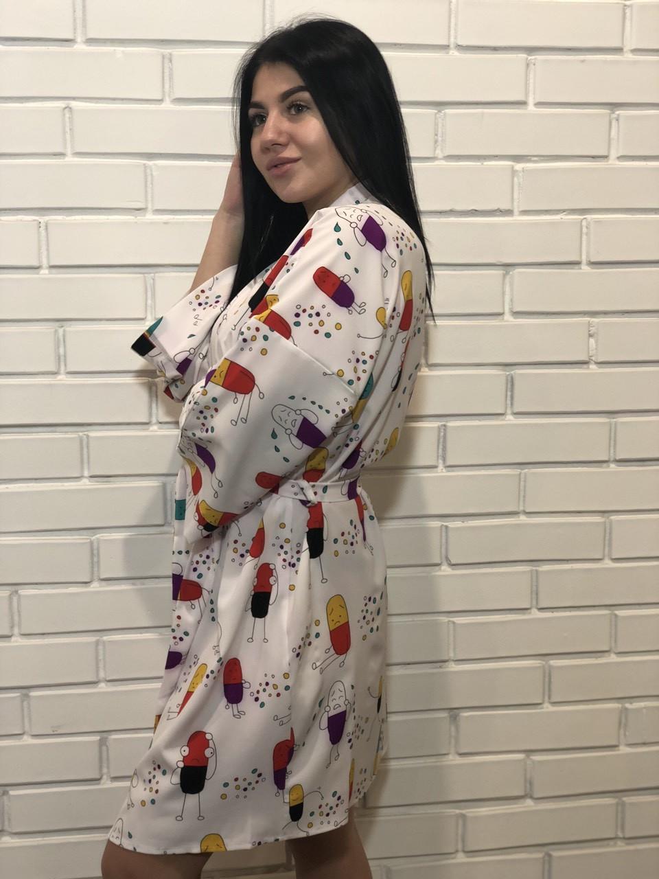 Домашний разноцветный женский халатик с веселыми картинками, ТМ Exclusive.