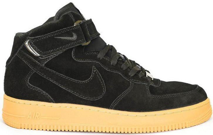 449f1128 Мужские высокие зимние кроссовки Nike Air Force High Winter Black (Найк Аир  Форс в стиле) с мехом черные