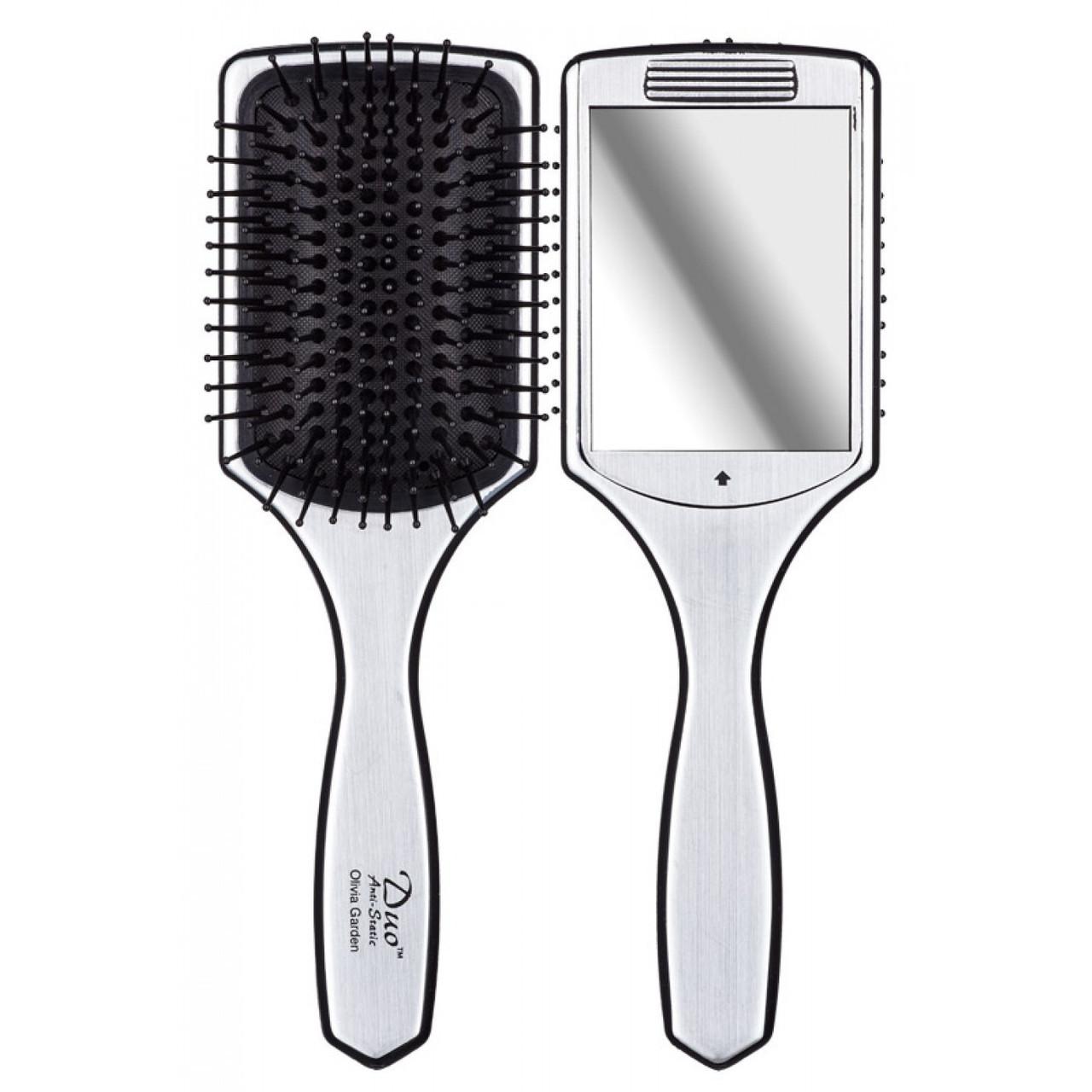Массажная щетка для волос c зеркалом Olivia Garden Duo, OGBDUO