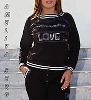 Турецкий стильный прогулочный спортивный костюм женский  №8883 чёрный, фото 1