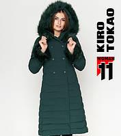 Куртка удлиненная зимняя женская Kiro Tokao - 6612G зеленая
