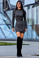 Облегающее Платье на Запах с Люрексом Графит S-XL, фото 1