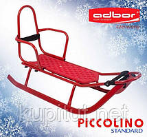 1015 Санки PICCOLINO Black Edition со спинкой (красный)