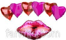 """Большой набор  фольгированных шаров """"Сладкий поцелуй"""" (7шт)"""