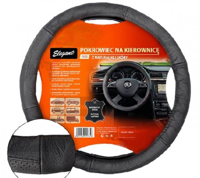Чехол на руль Elegant Plus кожаный черный с массажером и перфорированными вставками размер XL  EL 105618