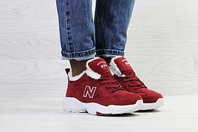 Зимние подростковые кроссовки New Balance 608,замшевые,бордовые, фото 2