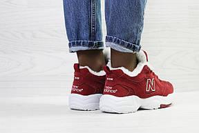 Зимние подростковые кроссовки New Balance 608,замшевые,бордовые, фото 3