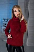 Свитер вязаный женский красный с отворотом., фото 1