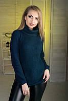 Свитер вязаный женский темно - синий с отворотом., фото 1