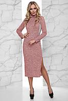 Теплое Платье из Ангоры с Боковой Вставкой и Разрезом Розовое S-XL