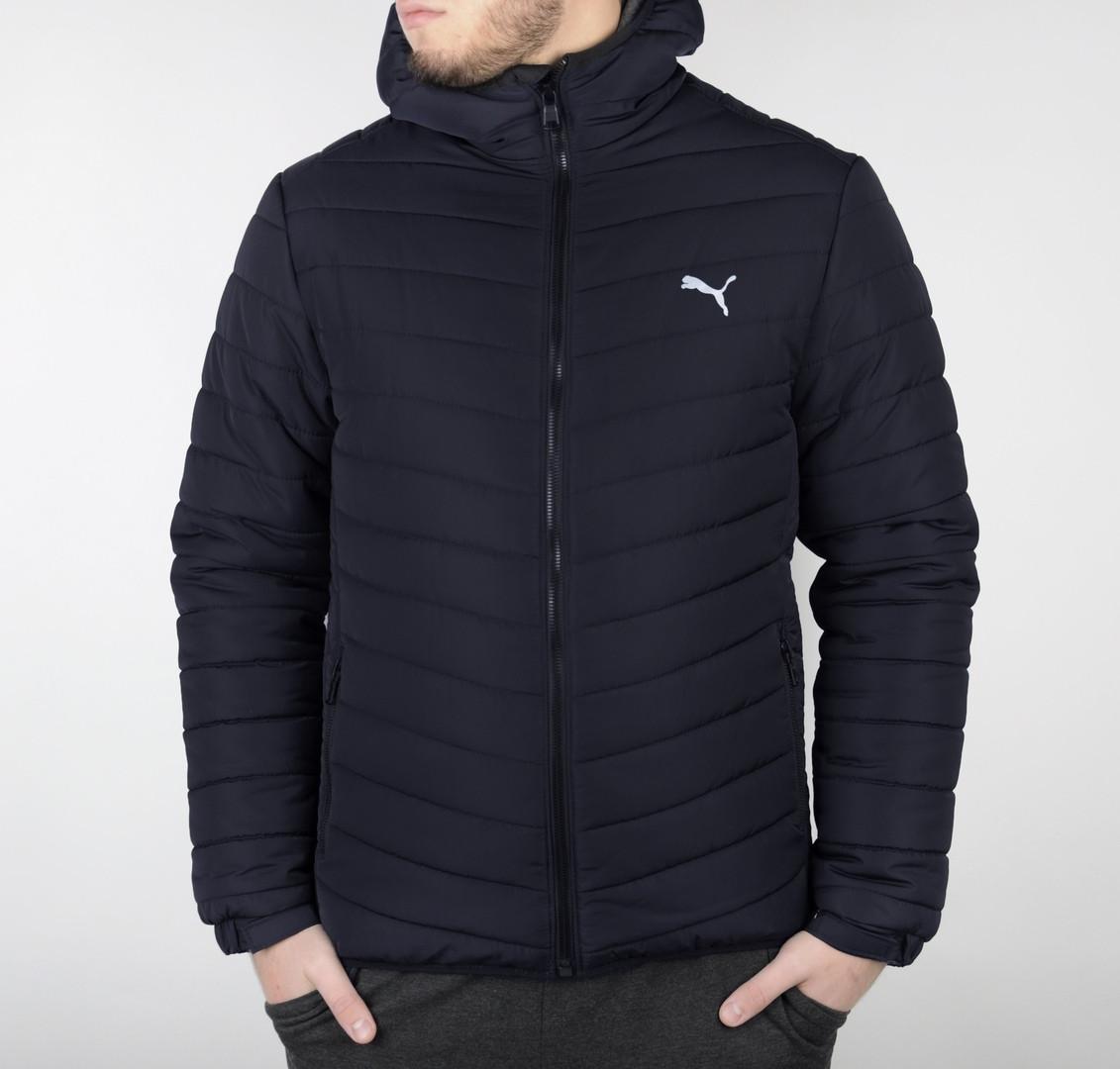 Мужская стеганая зимняя куртка Puma синего цвета топ реплика