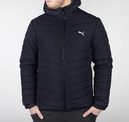 Мужская стеганая зимняя куртка Puma синего цвета топ реплика, фото 2
