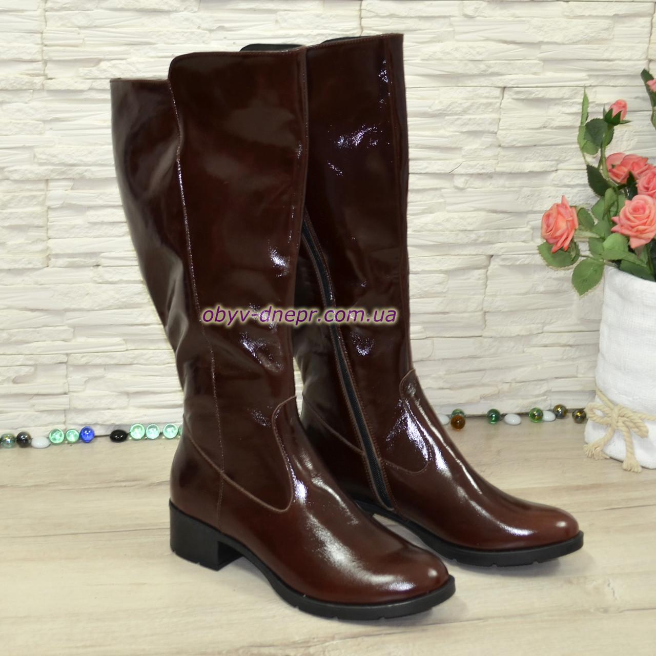 Сапоги женские кожаные демисезонные на невысоком каблуке, цвет коричневый