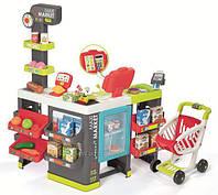 Интерактивный супермаркет со звуковыми эффектами, тележкой и аксессуарами Smoby Toys City Market3+ (350215)
