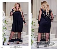 Платье вечернее длинное креп-дайвинг+евро-сетка 50-52,54-56,58-60
