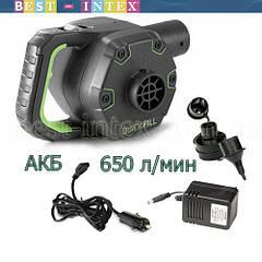 Intex 66642 (220В Вольт + 12 Вольт + АКБ) Насос электрический аккумуляторный