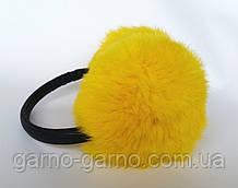 Наушники меховые Зимние кролик Ярко Желтый цвет
