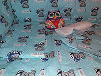 """Детское постельное белье """"Мишки"""" бирюзово-голубые, комплект 9 предметов!, фото 1"""