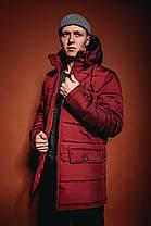 Мужская удлиненная зимняя куртка с капюшоном красная, фото 3