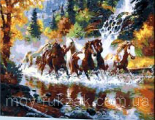 """Картина по номерам """"Табун лошадей"""" 40*50см"""
