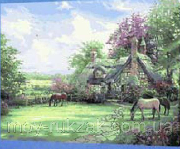 """Картина по номерам """"Домик с лошадями"""" 40*50см"""