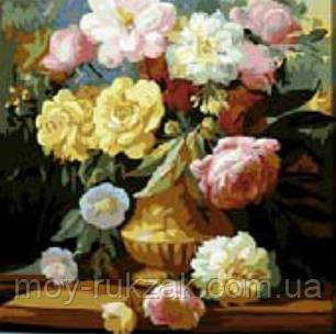 """Картина по номерам """"Розы в вазе"""" 40*50см, фото 2"""