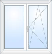 Двустворчатое окно Rehau Ecosol 70