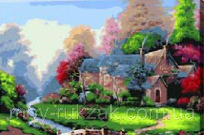 """Картина по номерам """"Домик с лужайкой"""" 40*50см"""